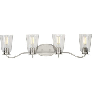 Durrell Brushed Nickel 31-Inch Four-Light Bath Vanity with Clear Shade