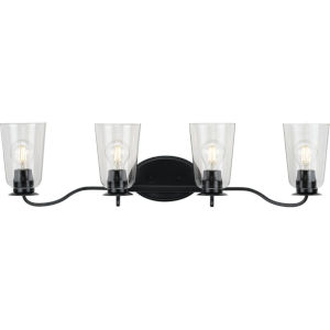 Durrell Matte Black 31-Inch Four-Light Bath Vanity with Clear Shade