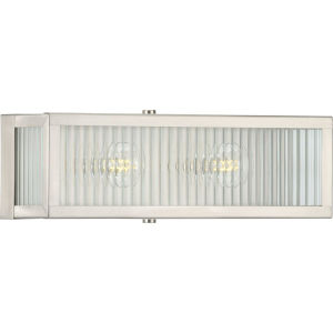 Dwyer Stainless Steel 14-Inch Two-Light Bath Vanity with Clear Ribbed Shade