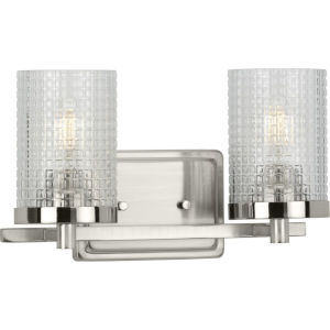 Fawcett Brushed Nickel 13-Inch Two-Light Bath Vanity with Clear Patterned Shade