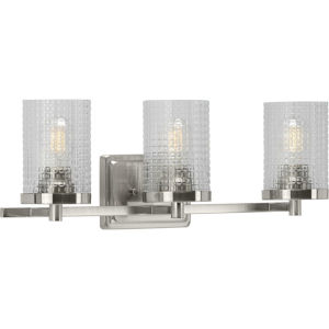 Fawcett Brushed Nickel 22-Inch Three-Light Bath Vanity with Clear Patterned Shade