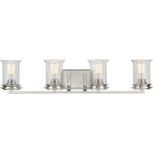Winslett Brushed Nickel 33-Inch Four-Light Bath Vanity with Clear Seeded Shade