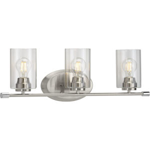 Riley Brushed Nickel 25-Inch Three-Light Bath Vanity with Clear Shade