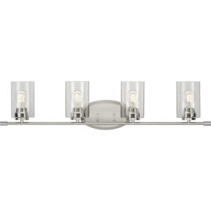 Riley Brushed Nickel 35-Inch Four-Light Bath Vanity with Clear Shade