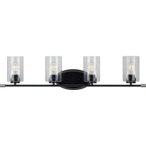 Riley Matte Black 35-Inch Four-Light Bath Vanity with Clear Shade