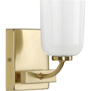 Moore Satin Brass Five-Inch One-Light Bath Vanity with White Opal Shade