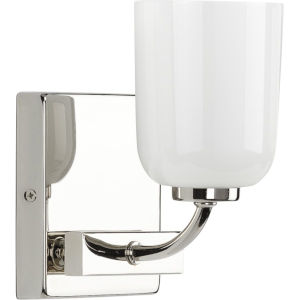 Moore Polished Nickel Five-Inch One-Light Bath Vanity with White Opal Shade