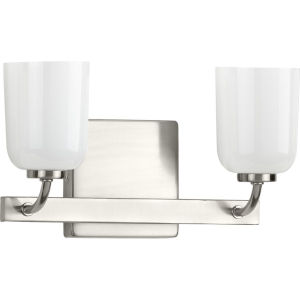 Moore Brushed Nickel 13-Inch Two-Light Bath Vanity with White Opal Shade