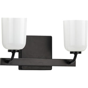Moore Matte Black 13-Inch Two-Light Bath Vanity with White Opal Shade