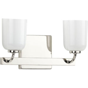 Moore Polished Nickel 13-Inch Two-Light Bath Vanity with White Opal Shade