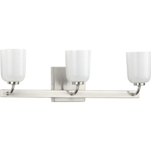 Moore Brushed Nickel 22-Inch Three-Light Bath Vanity with White Opal Shade