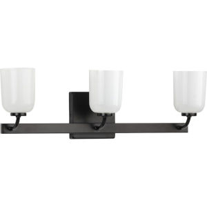 Moore Matte Black 22-Inch Three-Light Bath Vanity with White Opal Shade