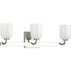 Moore Polished Nickel 22-Inch Three-Light Bath Vanity with White Opal Shade
