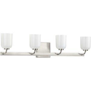 Moore Brushed Nickel 31-Inch Four-Light Bath Vanity with White Opal Shade