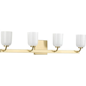Moore Satin Brass 31-Inch Four-Light Bath Vanity with White Opal Shade