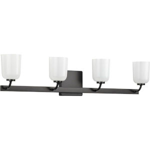 Moore Matte Black 31-Inch Four-Light Bath Vanity with White Opal Shade