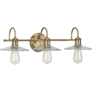 Fayette Vintage Brass 26-Inch Three-Light Bath Vanity with Clear Shade