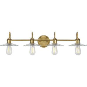 Fayette Vintage Brass 35-Inch Four-Light Bath Vanity with Clear Shade