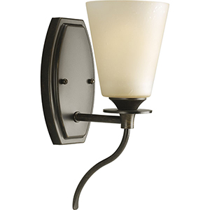 P3216-77: Cantata Forged Bronze One-Light Bath Sconce with Seeded Topaz Glass