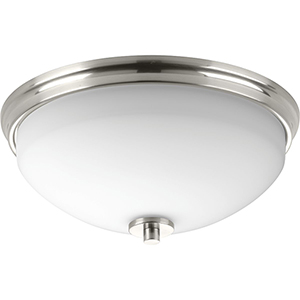 P3423-09: Replay Brushed Nickel Two-Light Flush Mount with Etched Glass