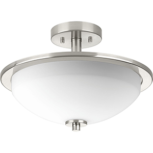 P3424-09: Replay Brushed Nickel Two-Light Semi Flush Mount with Etched Glass