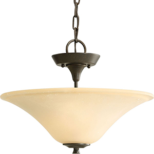 P3440-77: Cantata Forged Bronze Two-Light Semi Flush Mount with Seeded Topaz Glass