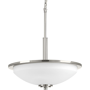 P3450-09: Replay Brushed Nickel Three-Light Pendant with Etched Glass