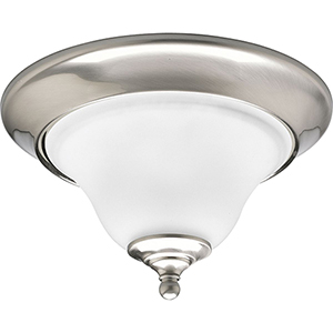 P3475-09: Trinity Brushed Nickel One-Light Flush Mount with Etched Glass