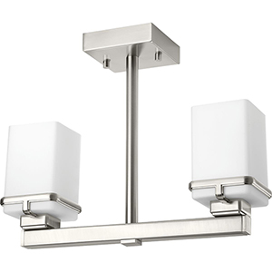 P350021-009: Metric Brushed Nickel Two-Light Semi Flush Mount with Etched Opal Glass