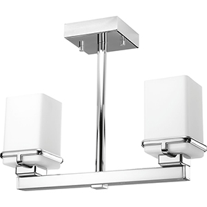 P350021-015: Metric Polished Chrome Two-Light Semi Flush Mount with Etched Opal Glass