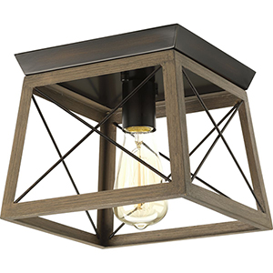 P350022-020: Briarwood Antique Bronze One-Light Flush Mount with Alabaster Glass