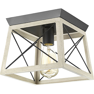 P350022-143: Briarwood Graphite One-Light Flush Mount with Alabaster Glass