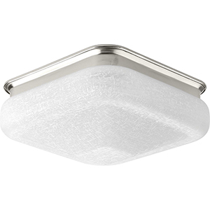 P350024-009-30: Brushed Nickel One-Light LED Energy Star Flush Mount with Etched White Linen Glass