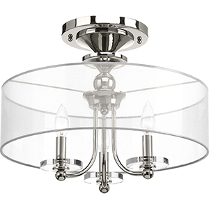 P350029-104: Marché Polished Nickel Three-Light Semi Flush Mount
