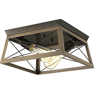 P350039-020: Briarwood Antique Bronze Two-Light Flush Mount
