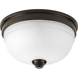P350047-020: Topsail Antique Bronze Two-Light Flush Mount with Etched Parchment Glass