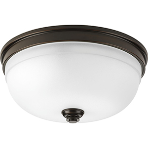 P350048-020: Topsail Antique Bronze Three-Light Flush Mount with Etched Parchment Glass