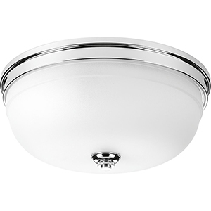P350062-015: Topsail Polished Chrome Three-Light Flush Mount with Etched Parchment Glass