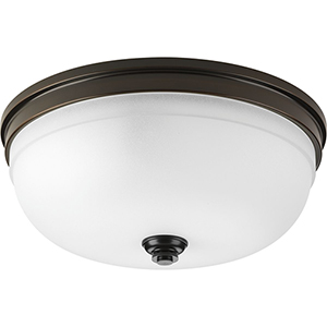 P350062-020: Topsail Antique Bronze Three-Light Flush Mount with Etched Parchment Glass