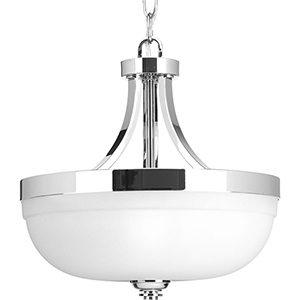 P350063-015: Topsail Polished Chrome Three-Light Semi Flush Mount with Etched Parchment Glass