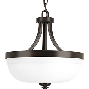 P350063-020: Topsail Antique Bronze Three-Light Semi Flush Mount with Etched Parchment Glass