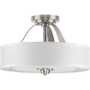Kene Brushed Nickel 16-Inch Two-Light Semi-Flush Mount with Linen Shade