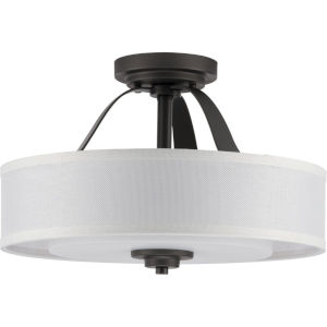 Kene Graphite 16-Inch Two-Light Semi-Flush Mount with Linen Shade