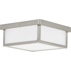 Brushed Nickel 10-Inch LED Flush Mount with Etched Shade