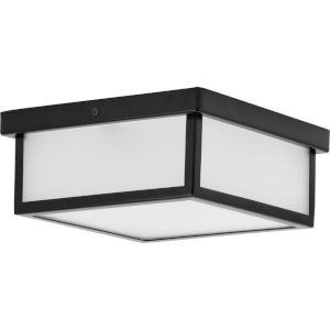 Matte Black 10-Inch LED Flush Mount with Etched Shade