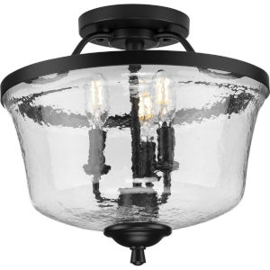 Bowman Matte Black 14-Inch Three-Light Semi-Flush Mount with Clear Chiseled Glass Shade
