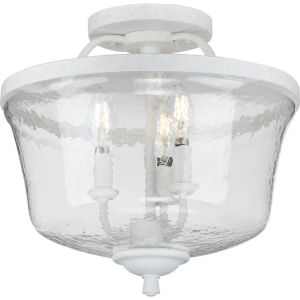 Bowman Cottage White 14-Inch Three-Light Semi-Flush Mount with Clear Chiseled Glass Shade
