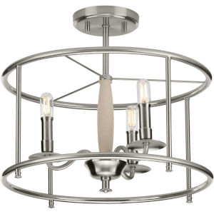 Durrell Brushed Nickel 16-Inch Three-Light Semi-Flush Mount with Open Cage Frame