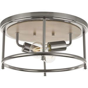 Durrell Brushed Nickel 13-Inch Two-Light Flush Mount with Open Cage Frame