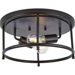 Durrell Matte Black 13-Inch Two-Light Flush Mount with Open Cage Frame